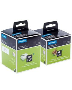 Etikett Dymo LW Papper 89x36 mm vit 260st/rle 2rlr/fp