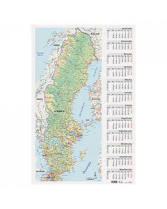 Alm. Burde Väggblad med Sverigekarta