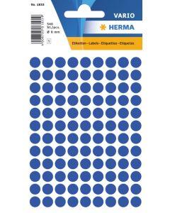 Etikett Färgsignal rund 8mm mörkblå 540st/fp