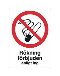 Skylt Rökning förbjuden