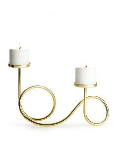 Ljusstake Loop guldfärgad metall