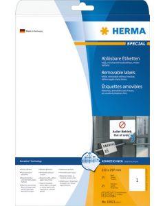 Etikett Herma 210 x 297mm avtagbar 25 etiketter/fp