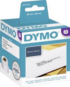 Etikett Dymo LW Papper 89x28 mm vit 130st/rle  2rlr/fp