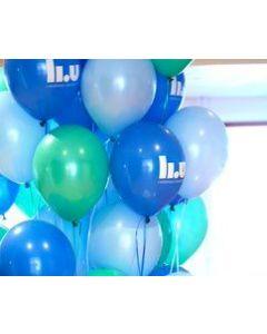 Ballonger, blå med logotyp, 100-pack LIU