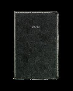 Alm. Burde Leader svart konstläder spiralbunden