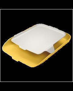Brevkorg Leitz Cosy med hylla gul