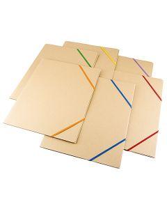 Snoddmapp kartong A4 3-klaff blandade färger